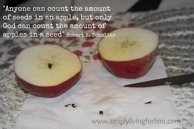 "Anyone can count the seeds in an apple, but only God can count the number of apples in a seed."" Robert Shuller."