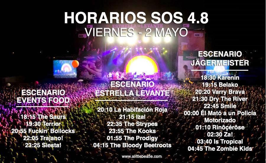 Horarios de los conciertos del viernes del SOS 4.8 2014