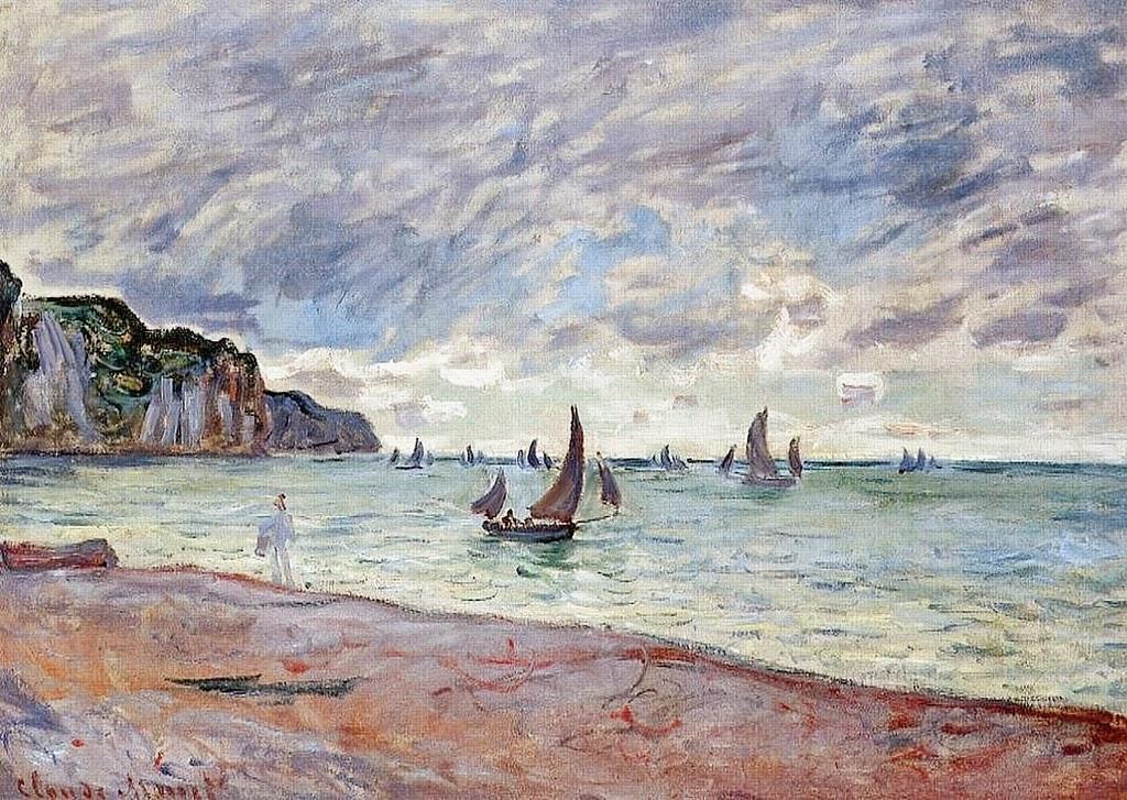 Barques de pêche devant la plage et les falaises de Pourville (1882)