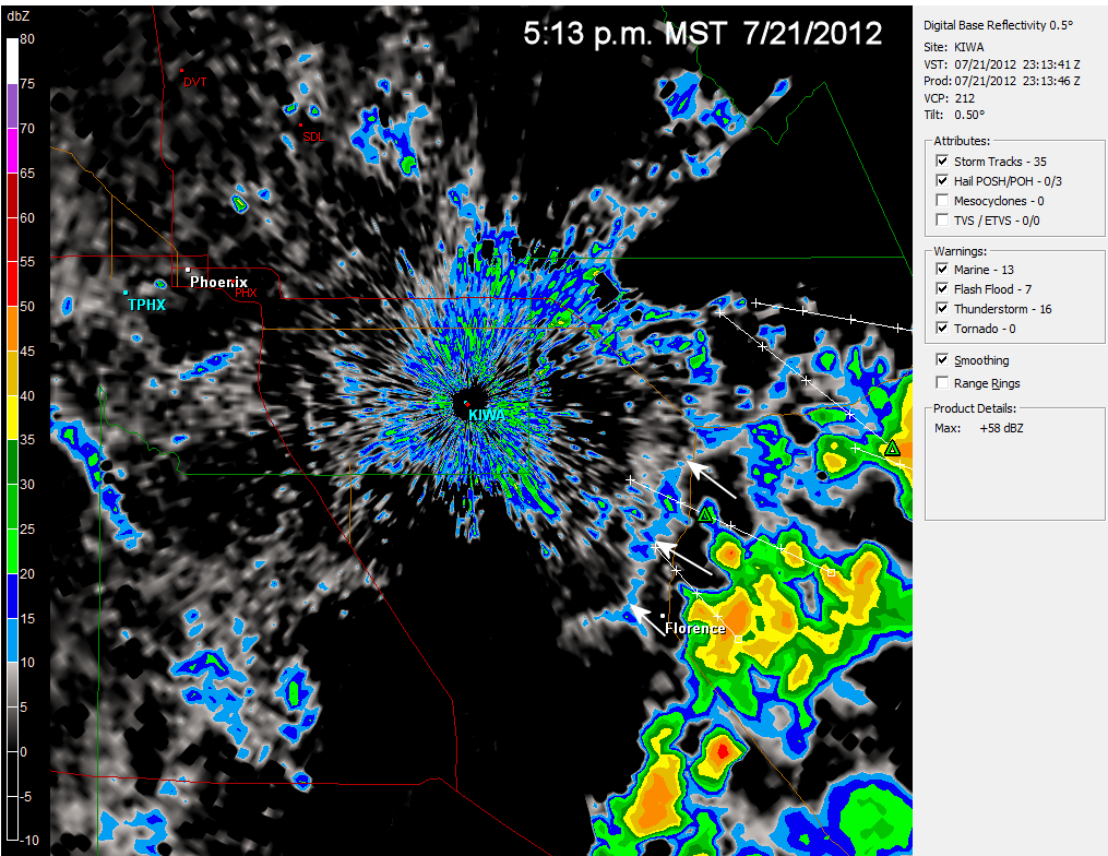 this is the radar image from the nws radar at phoenix at 5 13 p m mst the city of phoenix is northwest of the radar the white arrows point to the blue