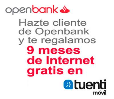 Promoción Tuenti móvil internet gratis durante 9 meses con Openbank.