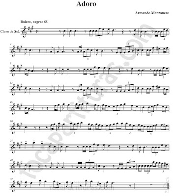 Adoro Partituras en Clave de Sol de Flauta, Violín, Saxo Alto, Oboe, Trompeta, Saxofón Tenor, Soprano Sax, Clarinete, Trompeta, Cornos, Trompa, Barítono, Voz... Bolero de Armando Manzanero Sheet Music in treble clef for violin, flute, alto saxophone, trumpet, clarinet, horn, flugelhorn, baritone, voice...
