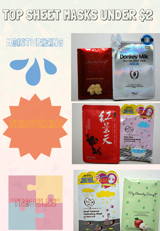 How to use a sheet mask. Cheap sheet masks. Sheet mask giveaway. Korean and Taiwanese sheet masks. Sheet masks under $2. $1 Sheet Masks. Sheet masks for acne, brightening, and moisture. Where to buy sheet masks.