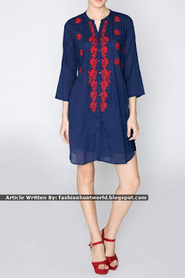 Indigo Blue n Red Cotton Tunic / Mango Yellow Embroidered Casual Tunic