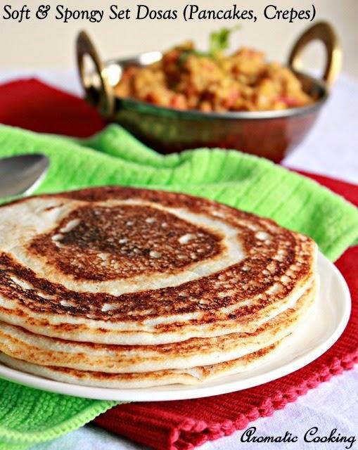 soft and spongy set dosas ( pancakes, crepes )