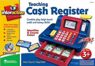 Best educational toy Learning Resources Teaching Cash Register for a kids shop with fake play money