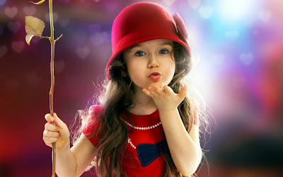 Cute Little Baby Girl With Red HD Wallpaper