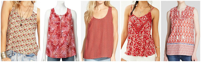 Forever 21 Floral Tulip Back Tank $8.99 (regular $12.80)  Sonoma Life + Style Print Challis Tank $19.99 (regular $30.00) there are LOTS of different colors and patterns  Pleione Racerback Tank $23.40 (regular $39.00) check out the purple - my favorite!  Staring at Stars Printed Lace Insert Tank Top $29.99 (regular $39.00)  BeachLunchLounge Rina Printed Top $51.00 (regular $68.00)