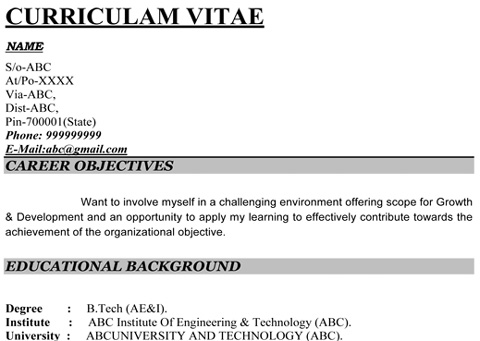 below are some images of resume format that may inspire you resume format india - Some Resume Formats
