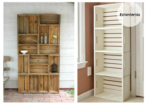 Reutiliza cajas rejas cajones de madera el detalle que hace la - Decorar reciclando muebles ...