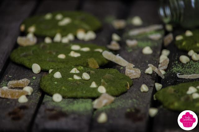 Cookies au thé matcha, gingembre et chocolat blanc
