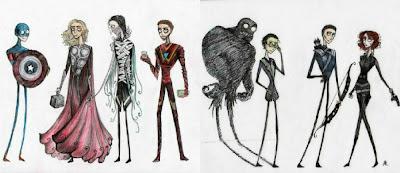 avengers,superheroes,fan art,tim burton,Capes on Film