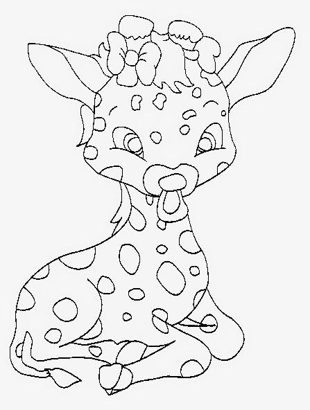 desenho de bebe girafa com chupeta  para pintar