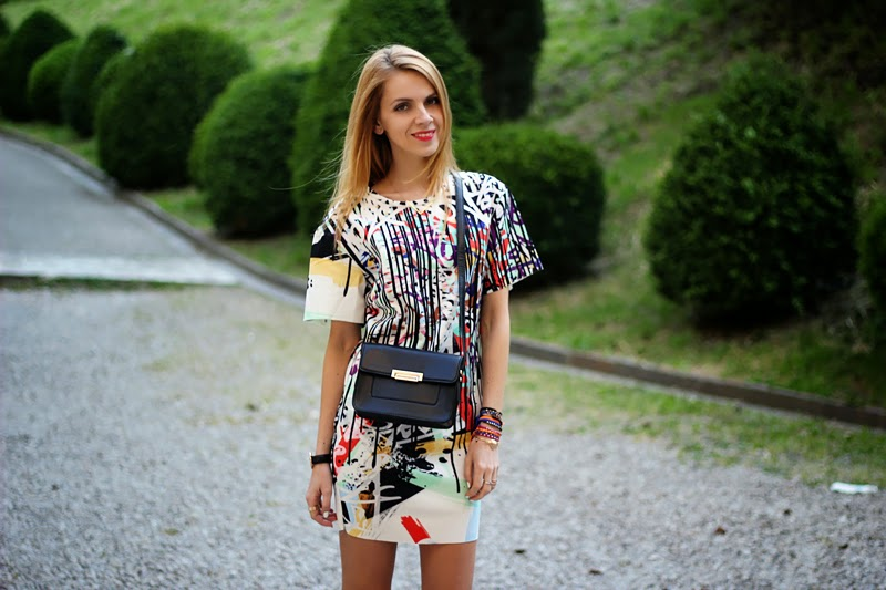 graffiti print dress, Mango mini bag, spring outfit