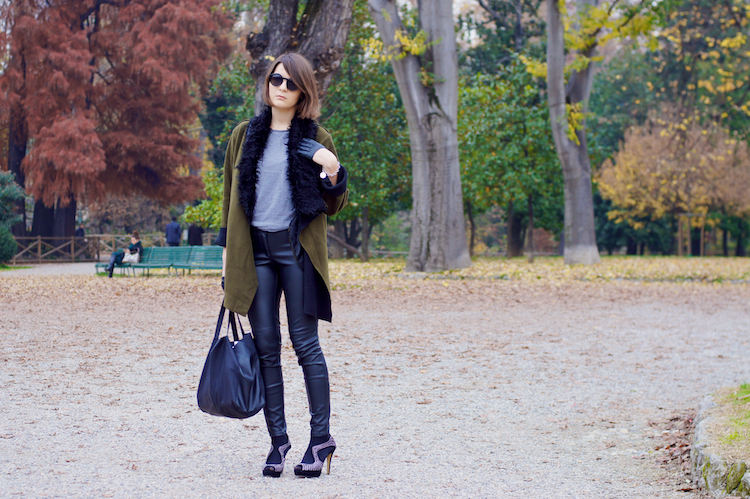 militar parka and leather pants