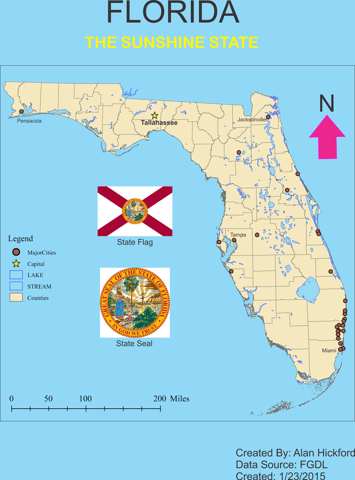 map in arcmap and take it to corel draw to use some of the graphical features on it and create a children s atlas page for the state of florida