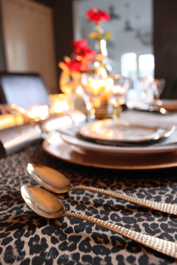 Christmas Table Black And White And Leopard Print All