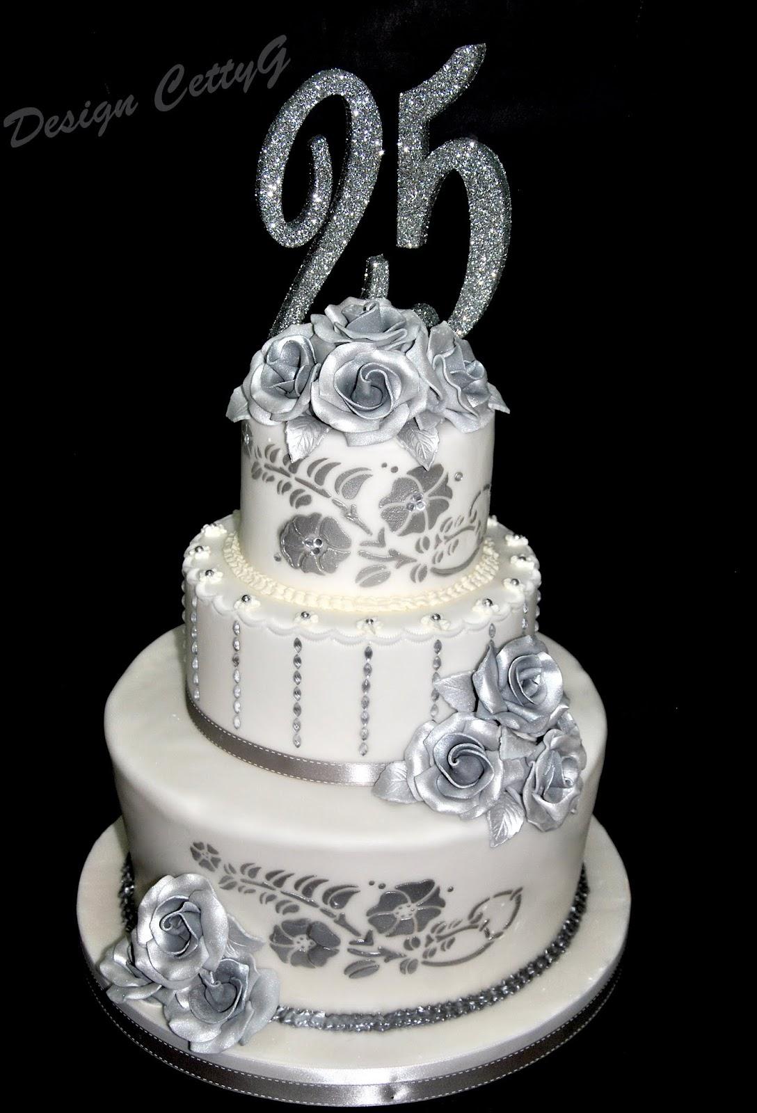 Le torte decorate di cetty g 25 anniversario di for Auguri per 25 anniversario di matrimonio