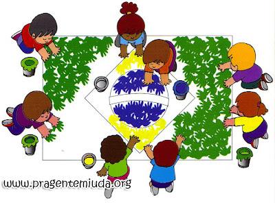 Bandeira do Brasil com carimbo das mãos