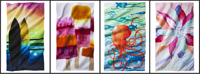 beach, towel, sun, surf, sand, surfboard, octopus, Popsicle, flower, watercolors