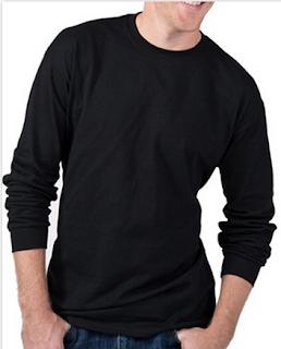 Kaos polos O-neck warna hitam lengan panjang