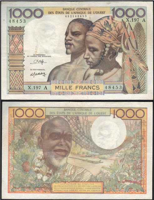 West African States 1000 Francs P #103An - A for Ivory Coast