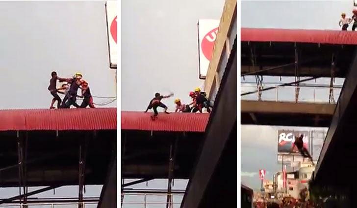 Man Falls Off Overpass Urdaneta