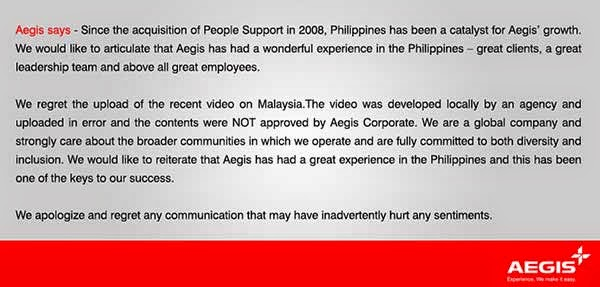 Aegis says sorry for derogatory ad