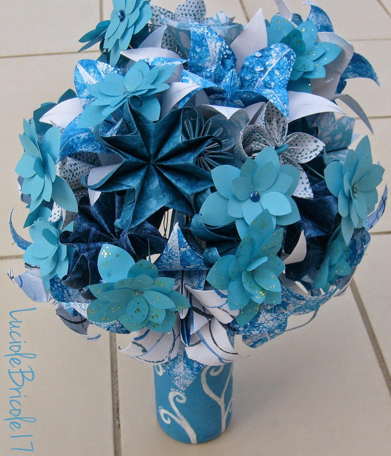 luciole bricole 17 bouquet bleu en origami blue origami flower bouquet. Black Bedroom Furniture Sets. Home Design Ideas