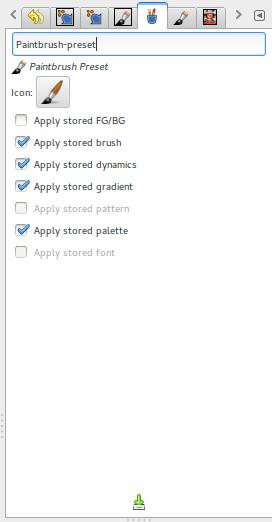 Editor de definições para um pincel.