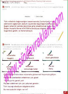 8.Sinif Turkce Enderun Yayinlari Calisma Kitabi Cevaplari Sayfa 47
