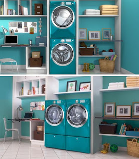 lavanderia com prateleira branca