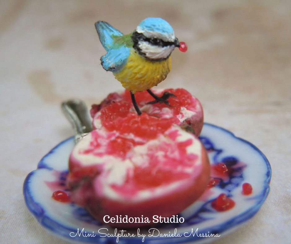 Miniature Blue Tit in 1/12 scale - Polymer Clay Mini Sculpture by Daniela Messina