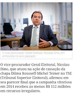 Chapa Dilma-Temer teve valor ilegal de R$ 112 milhões, afirma parecer