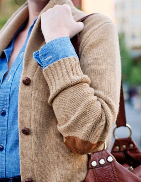 cardigan, denim shirt