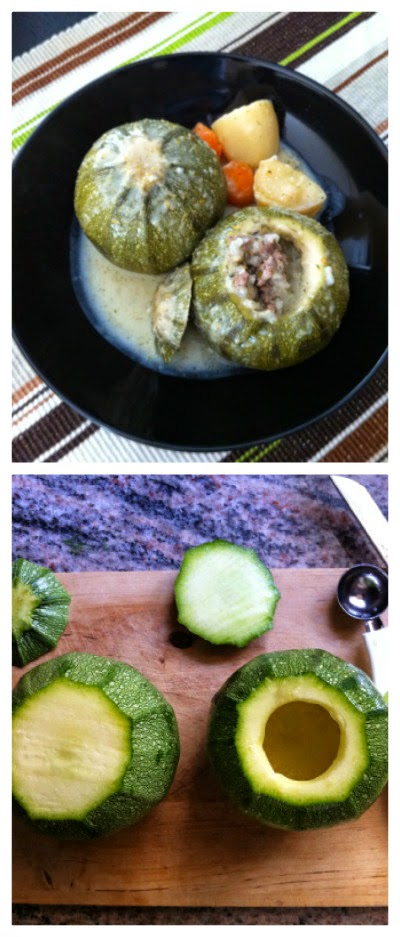 Slow Cooker Stuffed Courgettes (Zucchini) with Egg Lemon Sauce from On Top of Spaghetti found on SlowCookerFromScratch.com