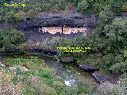 La part superior del Salt del Còdol o del Molí del Còdol des del Sender de Les Gorgues