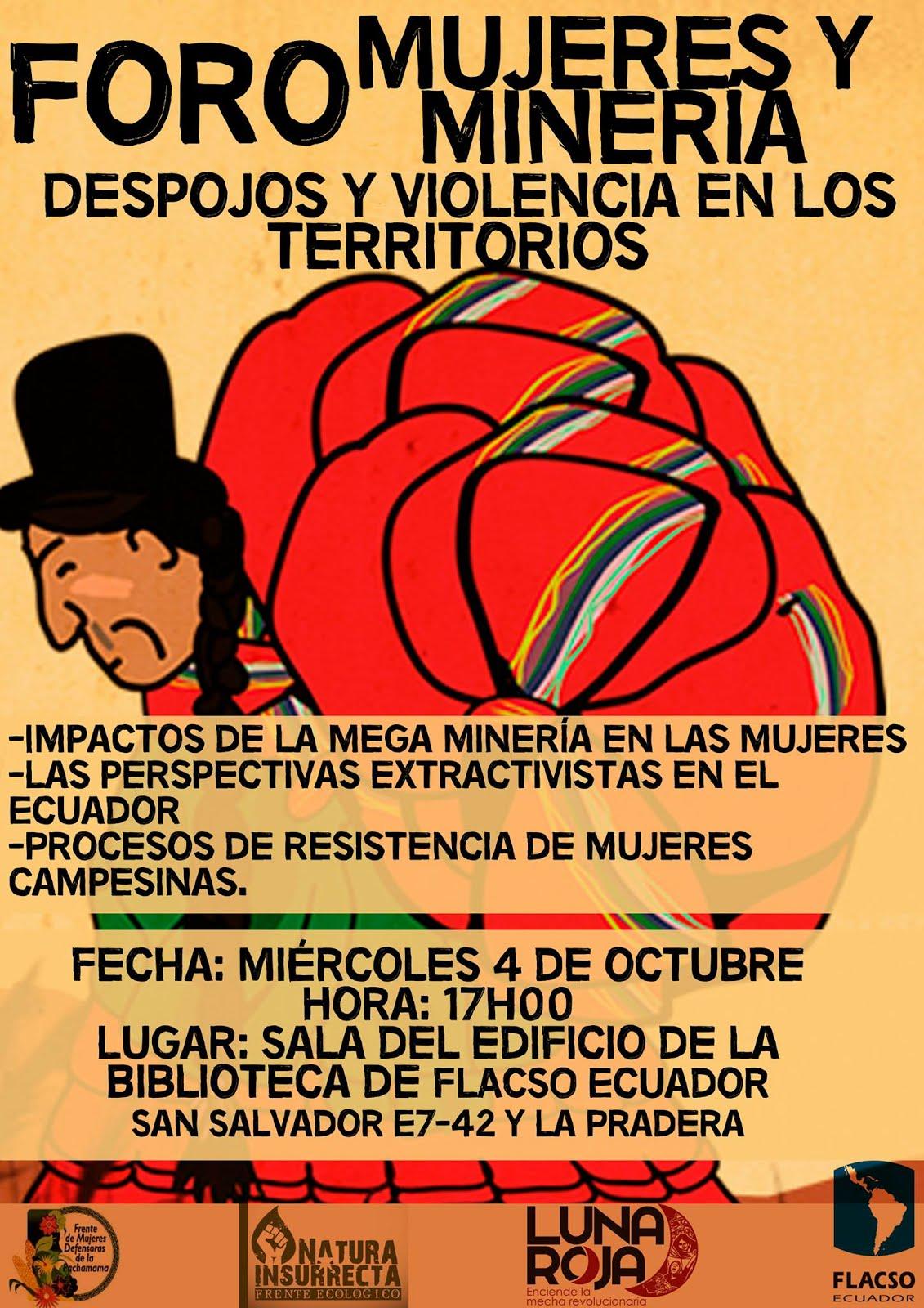 """Foro """"Mujer y Minería: despojos y violencia en los territorios"""""""