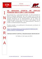 JUNTA DE ANDALUCÍA - SE APRUEBA OFERTA DE EMPLEO PÚBLICO 2019 CON 7.192 PLAZAS