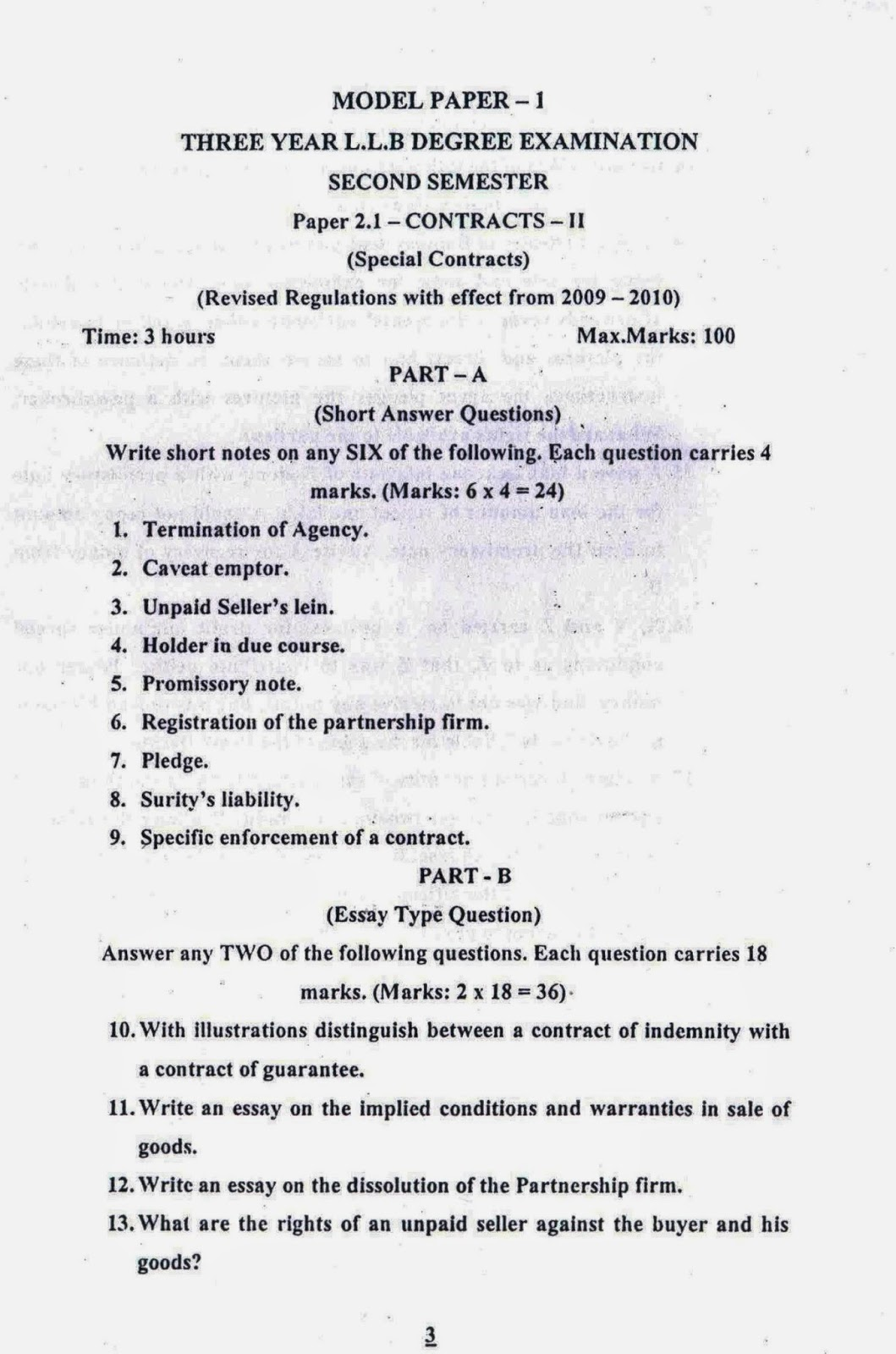 lawdetails pot in contract ii semister sv university model paper 1 page 1
