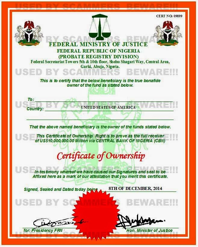 FRAUD FYI: Fake deposit certificate, affidavit claim of next of ...