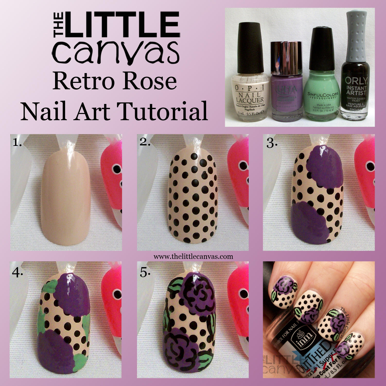 Retro Rose Nail Art Tutorial - The Little Canvas