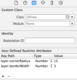 Configure User Defined Runtime attributes in interface builder