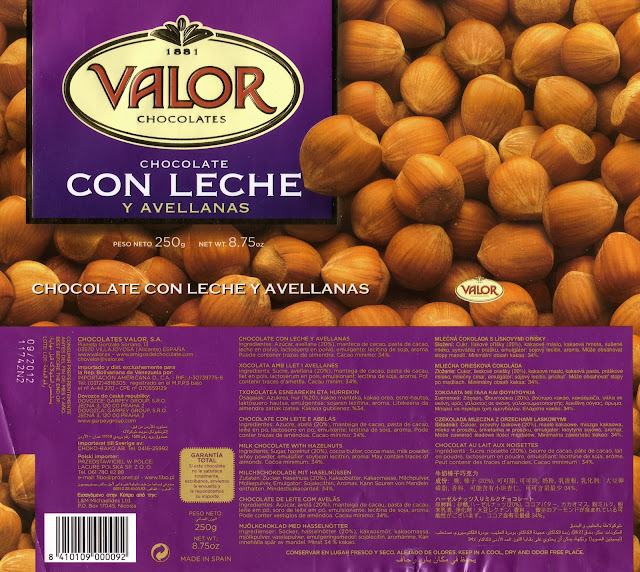 tablette de chocolat lait gourmand valor chocolate con leche y avellanas