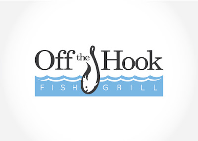 off the hook fish and grill logo design