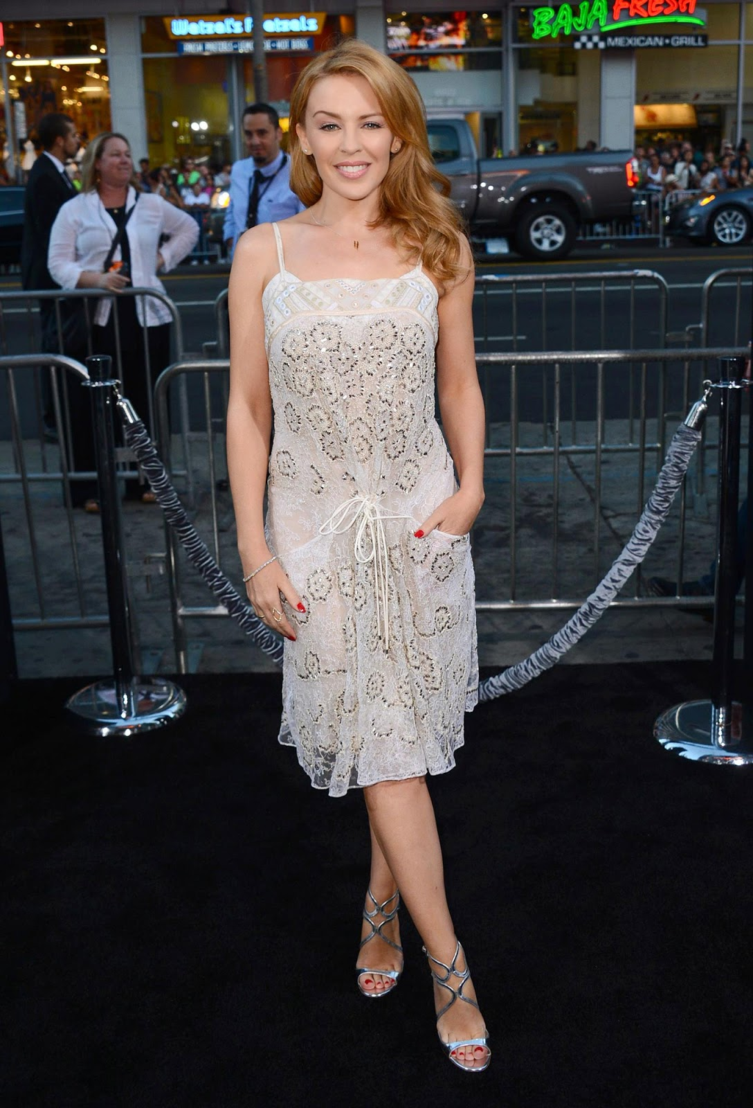 Kylie Minogue dazzles in white at the 'Hercules' LA premiere