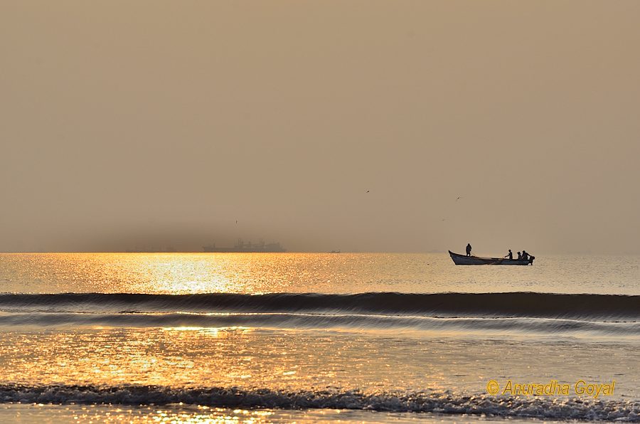 Sunset seascape with a fishing boat, Goa
