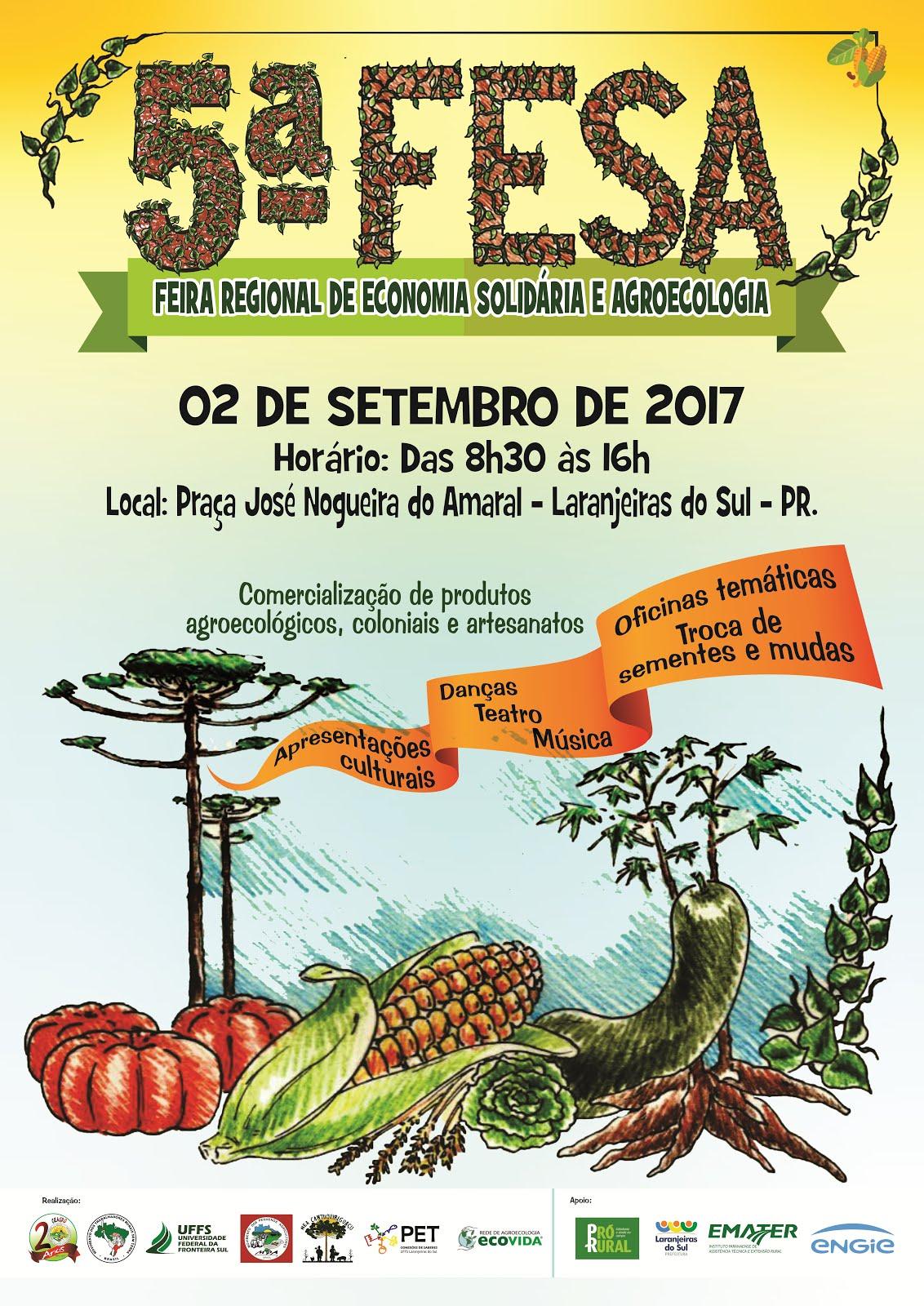 Laranjeiras do Sul:V Feira Regional de Economia Solidária e Agroecologia - FESA