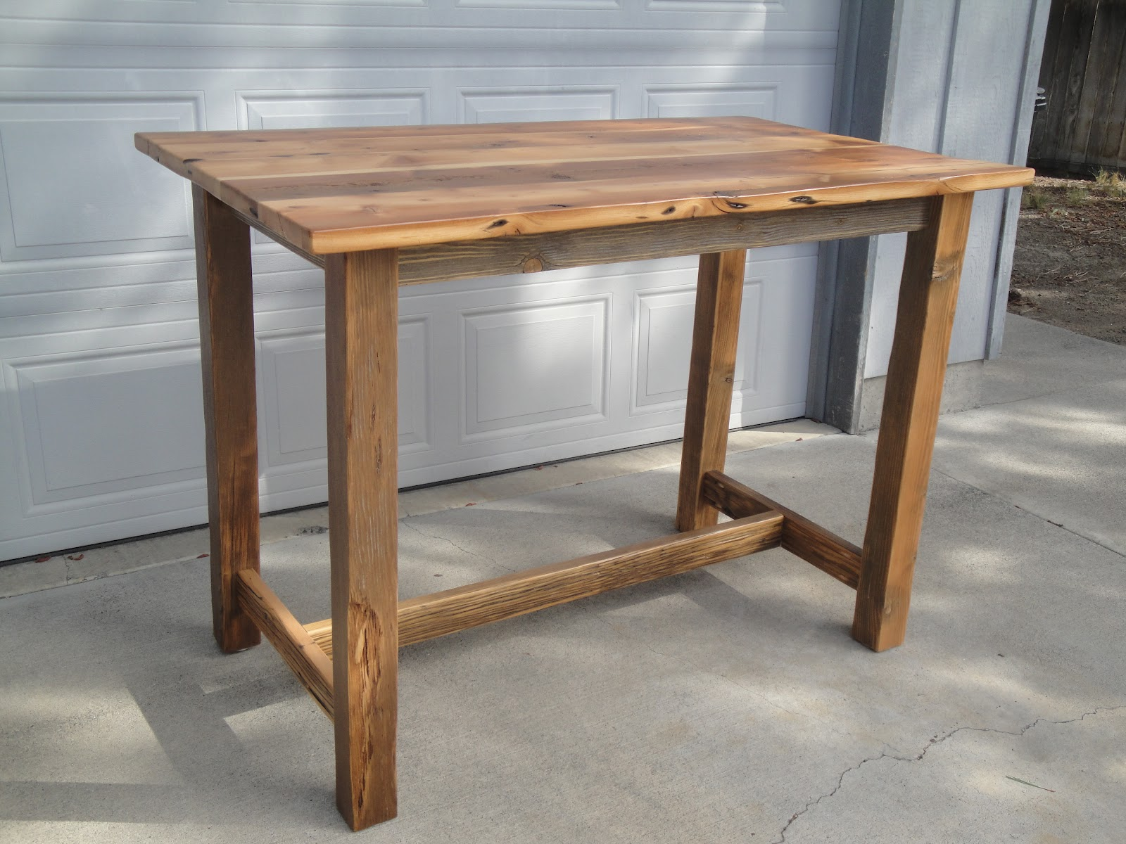 rustic wood bar height table