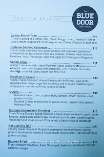 Blue Door Cafe's Specials Menu for Sunday